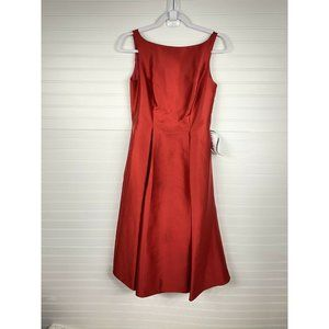 Adrianna Papell Satin Hi-Low Midi Gown Dress